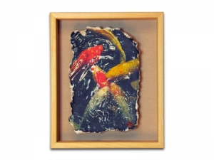 Peter MacIntosh, <em>Koi</em>. Photo printed on Japanese washi in wood frame, 28 x 24 x 4cm.