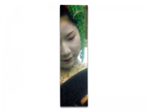 Peter MacIntosh, <em>Maiko-san</em>. Photo printed on Japanese wash mounted on wood panel, 68 x 16 x 2cm.