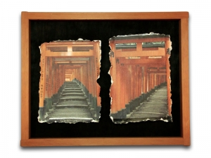 Peter MacIntosh, <em>The Gates</em>. Two photos printed on Japanese washi in handmade natural wooden frame, 59 x 75 x 4cm (frame).